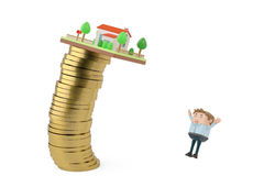 House on a gold coins stack fall to a businessman.3D illustratio. House on a gold coins stack fall to a businessman Royalty Free Stock Photos