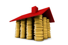 House of gold coins wideangle Stock Image
