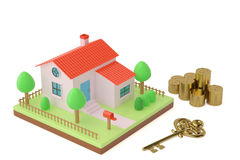 House with gold key and coins,3D illustration. Stock Photography