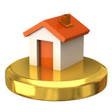 House on gold podium Stock Photo
