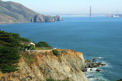A house and Golden Gate bridge on the background Stock Photography
