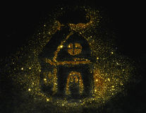 House of golden glitter sparkle on black Royalty Free Stock Images