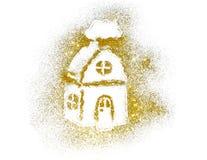 House of golden glitter sparkle on white Stock Photography