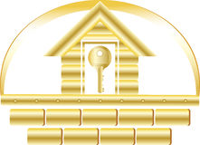 House with golden key Royalty Free Stock Images