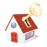 House with a golden key. Vector illustration Stock Image