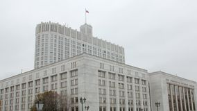 House of the Government of the Russian Federation in cloudy fall day. In Moscow city stock video