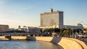 House of the Government of the Russian Federation, Moscow. Russia. Panoramic view of the Krasnopresnenskaya embankment with Russian White House. Nice panorama royalty free stock photos