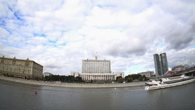 The House of the Government of the Russian Federation (the White House) and the Moskva River embankment. Fisheye. Time-lapse. UHD - 4K. September 09, 2016 stock video