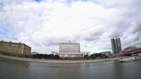The House of the Government of the Russian Federation (the White House) and the Moskva River embankment. Fisheye. UHD - 4K. September 09, 2016. Moscow. Russia stock video