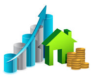 House graph and coins illustration design Stock Photography