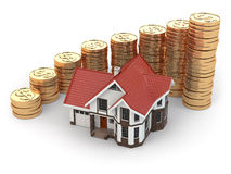 House and graph from coins. Real estate increasing. Royalty Free Stock Photos