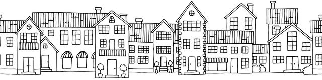 House graphic black white seamless background sketch illustration Stock Photos