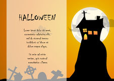 House and graveyard with halloween background Royalty Free Stock Photos