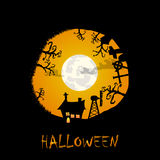 House graveyard and trees halloween background in circl Royalty Free Stock Photography