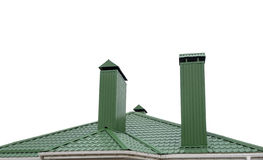 House from a green brick. With a pipe Royalty Free Stock Image