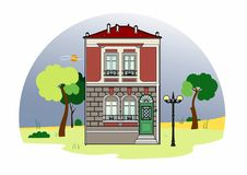 House with a green door. Vector illustration of an old house, EPS 8 file Stock Illustration