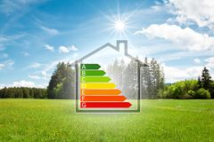 House in the green with energy efficiency graph stock images