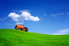 House on green field Royalty Free Stock Photo