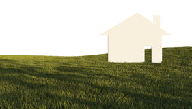 House in green field Royalty Free Stock Image