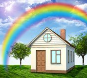 House on green field with rainbow and trees Stock Photos