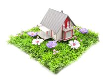 House in the green grass stock photo