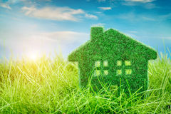 House on the green grass Stock Images