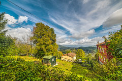 House by a green hill in Montecatini Stock Image