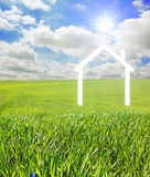 House on a green landscape Royalty Free Stock Photos