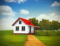 House on the green lawn. 3d illustration of house on the green lawn with clear sky Royalty Free Stock Photography