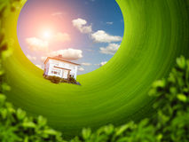 House on the green lawn Royalty Free Stock Image