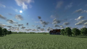House on green meadow and horses, time lapse day to night, stock footage Royalty Free Stock Photos