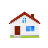 House with green roof. Vector Stock Image