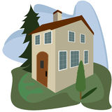 House on a green space. Vector illustration Stock Photos