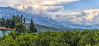 A house, green trees and a view of the mountains Stock Photography