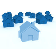House group. Fine image of 3d house group background