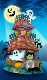 House with Halloween characters Royalty Free Stock Photography