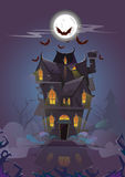 House Halloween Night Bats Flying Around stock illustration