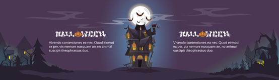 House Halloween Night Bats Flying Around Royalty Free Stock Images