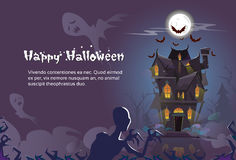 House Halloween Night With Ghosts Zombie Skeleton Banner Invitation Royalty Free Stock Photo