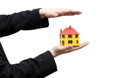 House in a hand royalty free stock photos