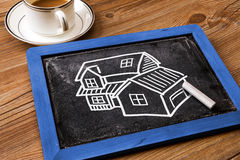 House hand drawn on blackboard Royalty Free Stock Images
