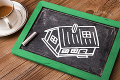 House hand drawn on blackboard Stock Images