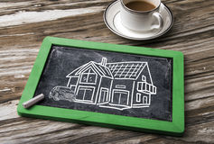 House hand drawn on blackboard Royalty Free Stock Photography