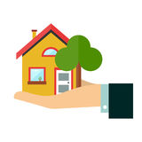 House in hand. Flat vector design icon illustration. Isolated on white background.  Insurance agent businessman  holds in hand Royalty Free Stock Photo