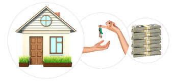 House with hand holding keys Stock Images