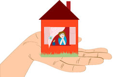 House on the hand on a white Royalty Free Stock Image