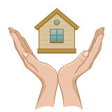 House in hand. On a white background Stock Image