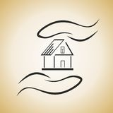 House in hands. Abstract illustration as a logo with house in hands Stock Photo