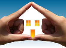 House in Hands. House symbol made from a woman's hands Royalty Free Stock Photography