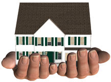 House Hands Home Real Estate protection. Home protection house in hands illustrating real estate home insurance, mortgage Stock Image
